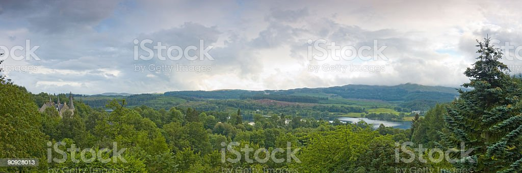 Green forests, castle, mountains royalty-free stock photo