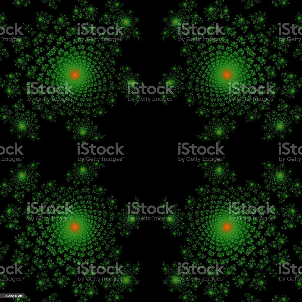 Green fractal frame in dark background. Generated fractal graphics. stock photo