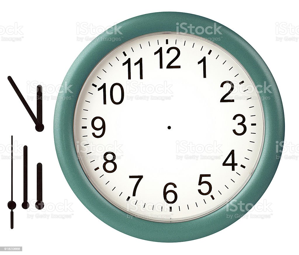 Green framed wall clock with hands seperate stock photo