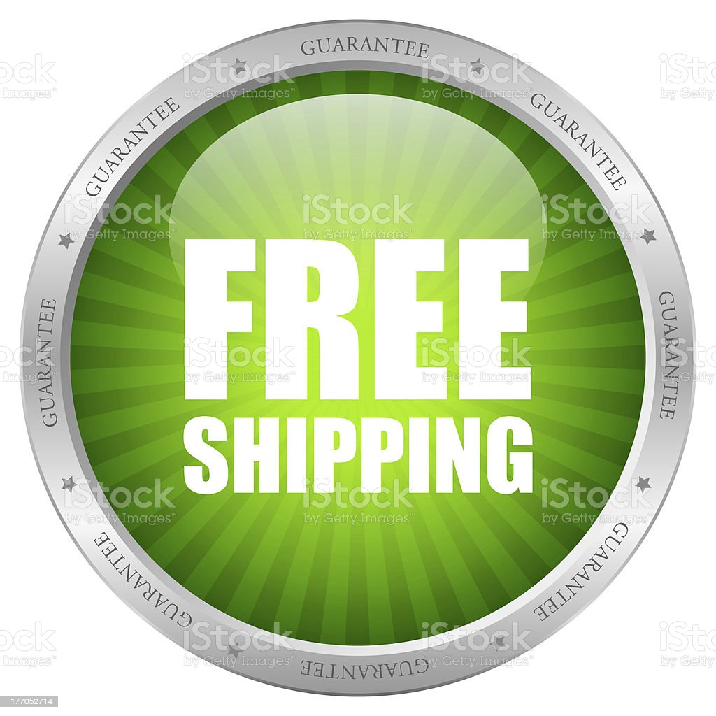 Green free shopping guarantee icon stock photo