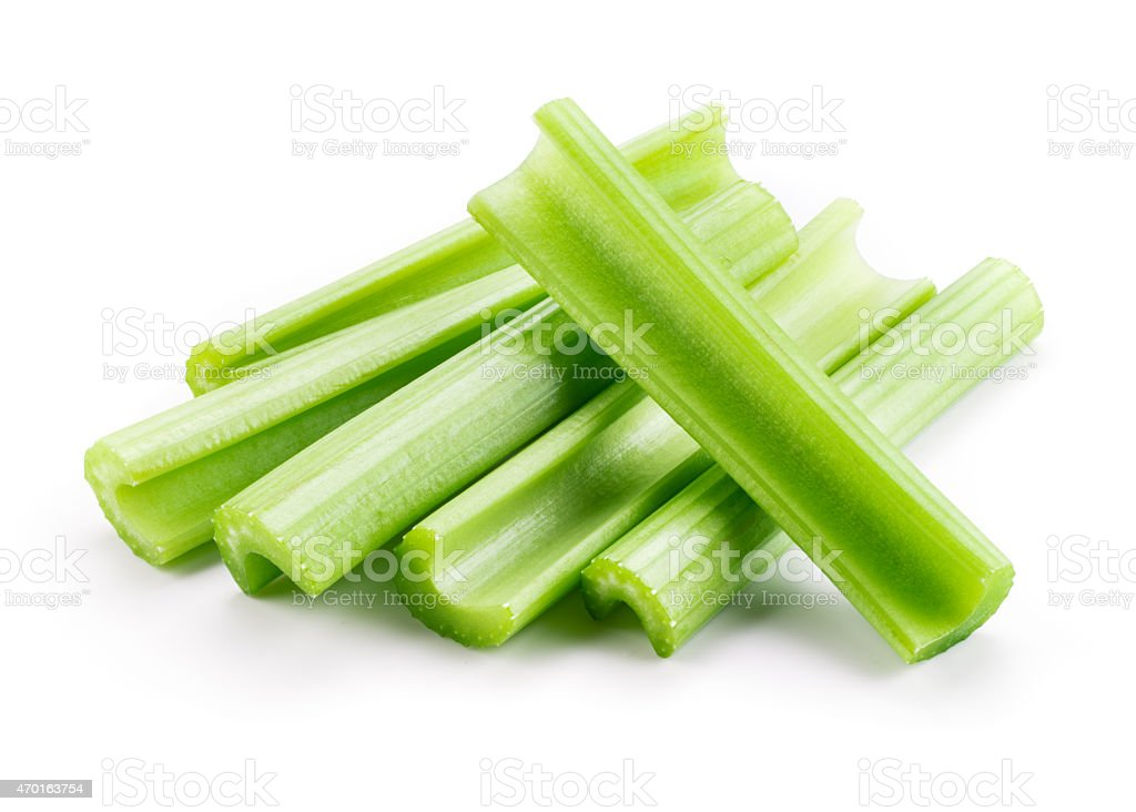 Green fresh celery. Stick isolated on white. stock photo