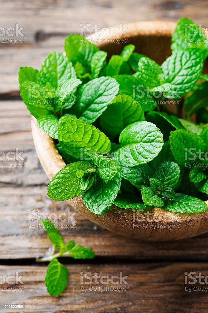 Green fresh mint om the wooden table stock photo
