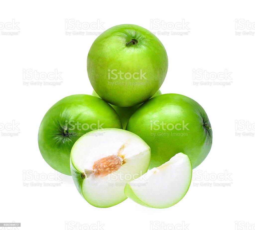 green fresh monkey apple with slices isolated on white backgroun stock photo