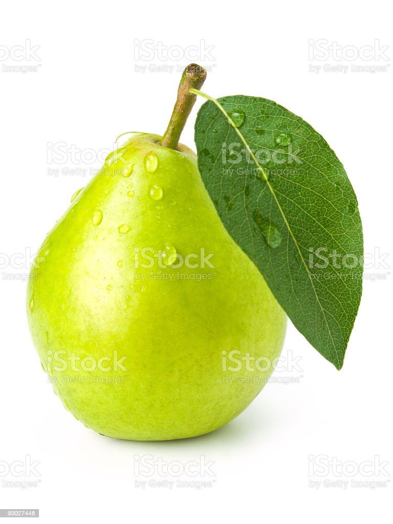 Green fresh pear with leaf and water droplets stock photo