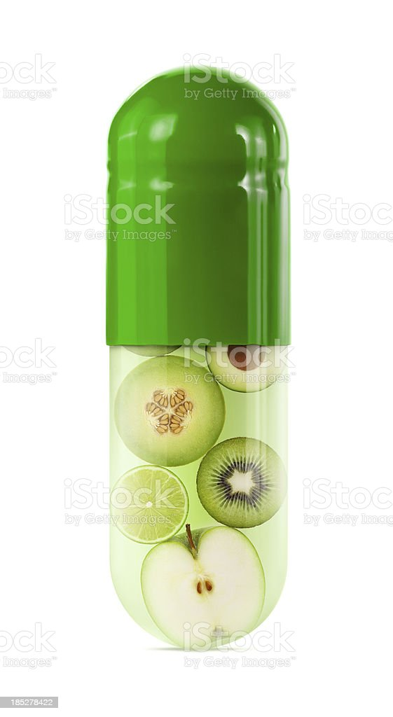 Green Fruit and Vegetable Capsule stock photo
