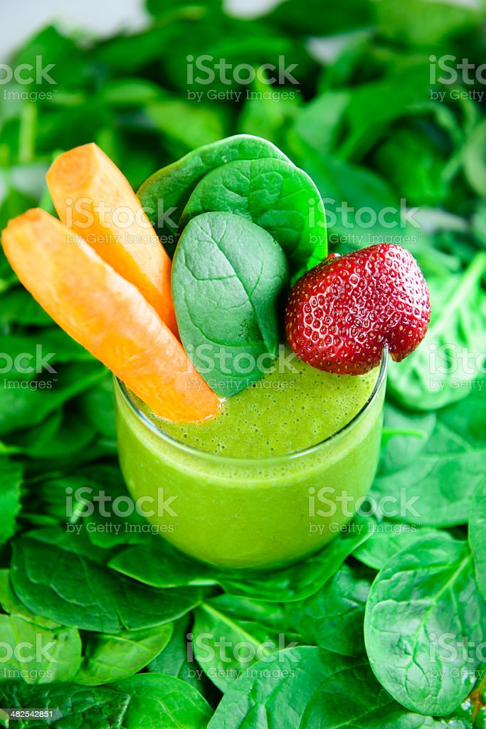 Green Fruit and Vegetable Smoothie stock photo