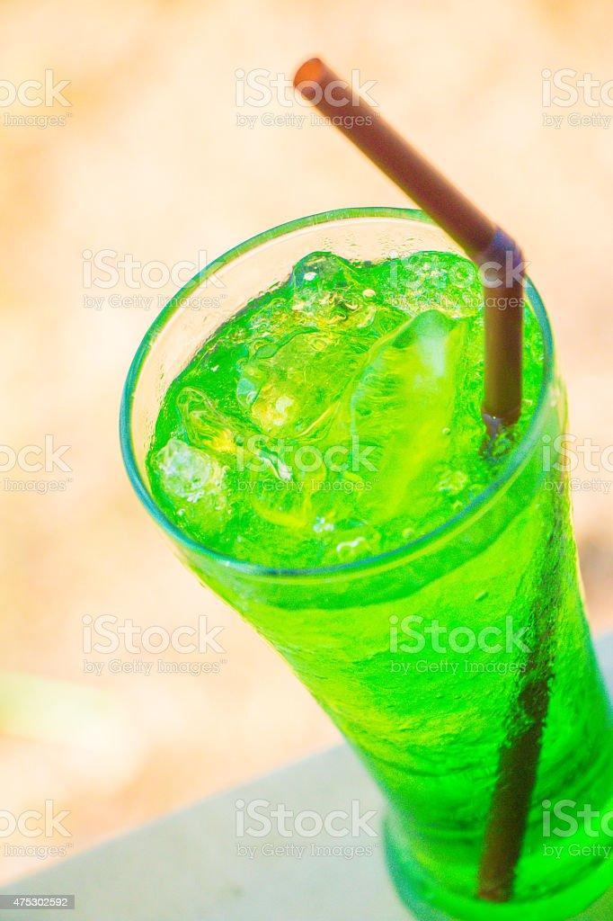 Green fruit flavor soft drinks stock photo