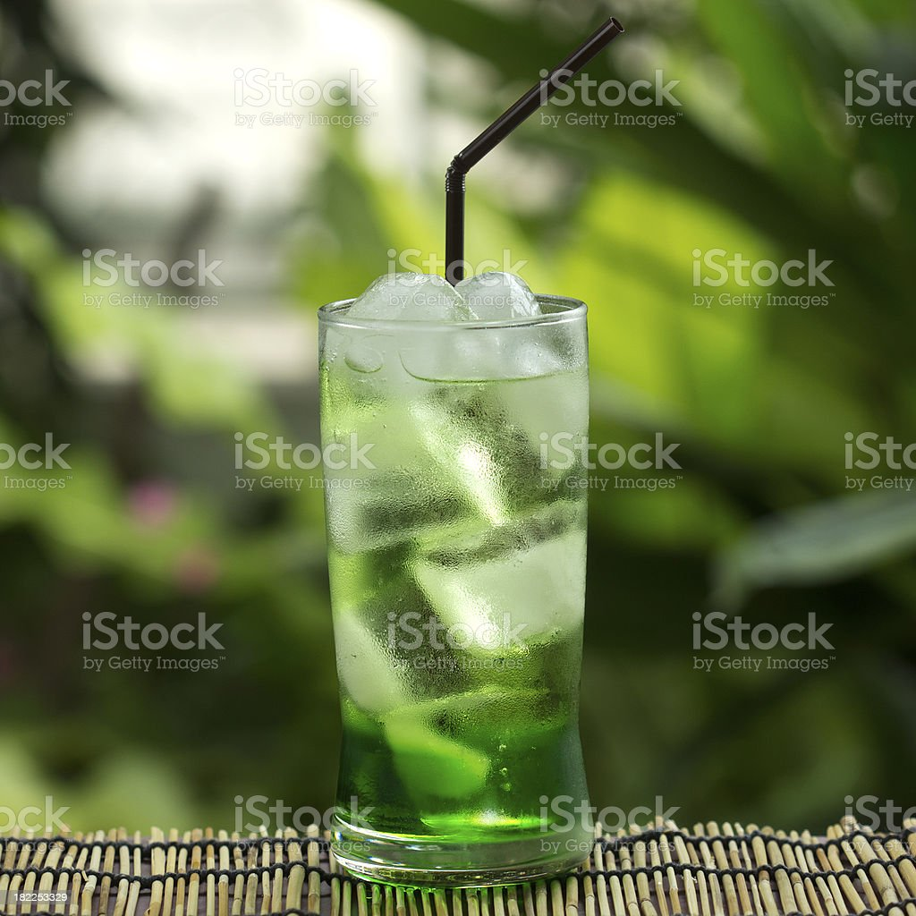 Green fruit soft drinks royalty-free stock photo