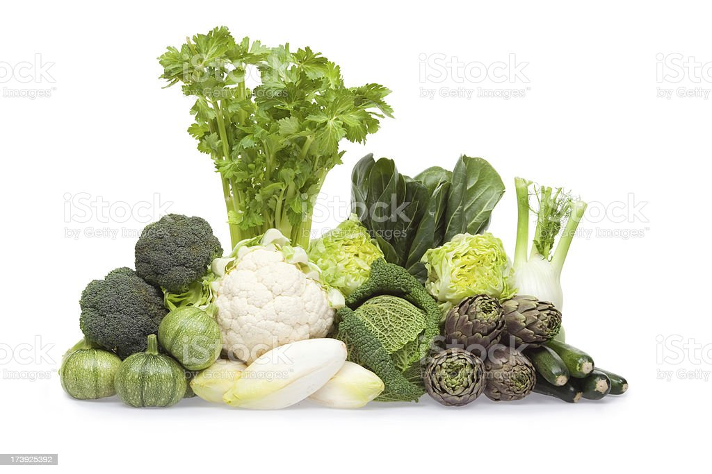 green fruit vegetable composition  isolated white royalty-free stock photo