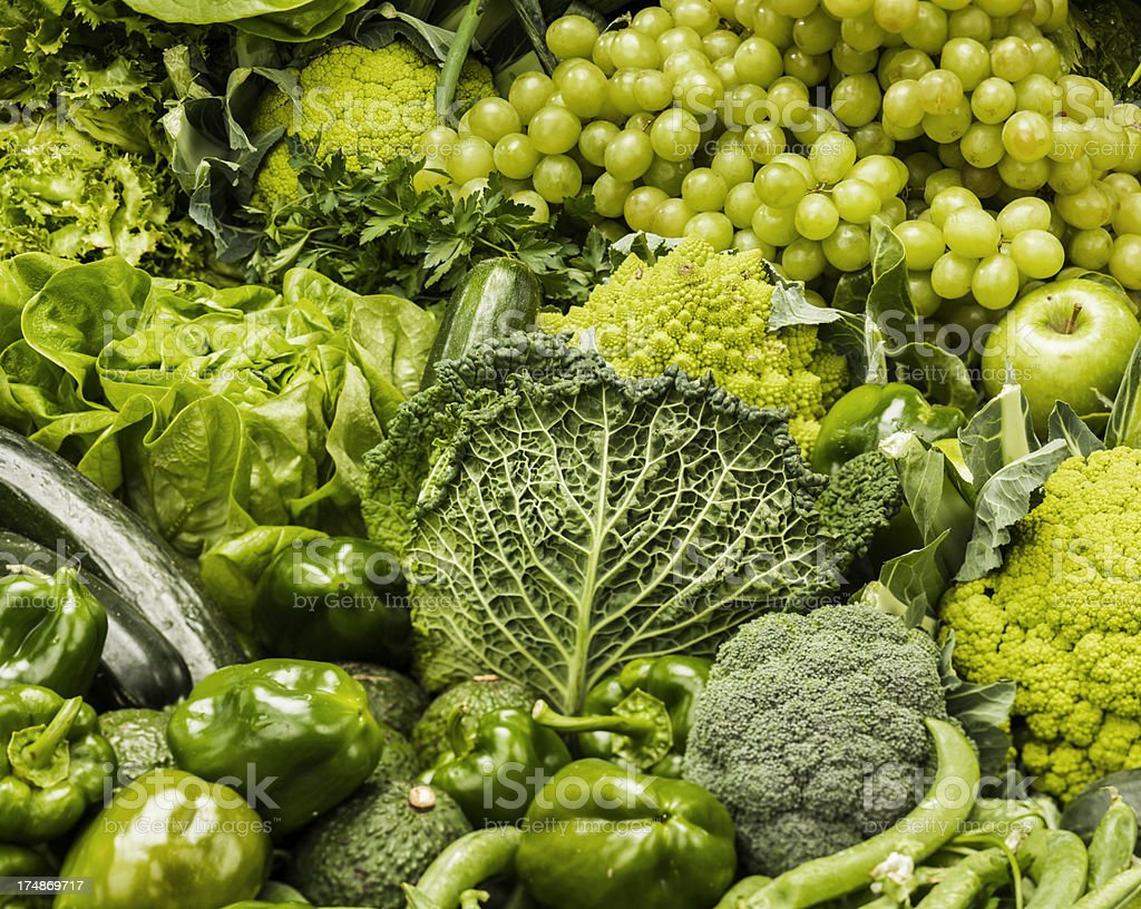 Green fruits and vegetables royalty-free stock photo