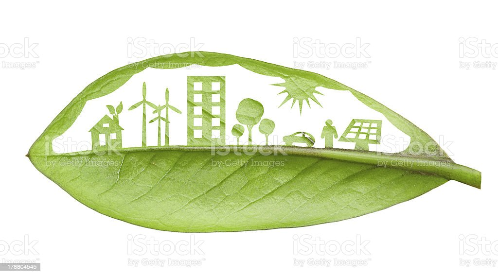 Green futuristic city living concept. stock photo