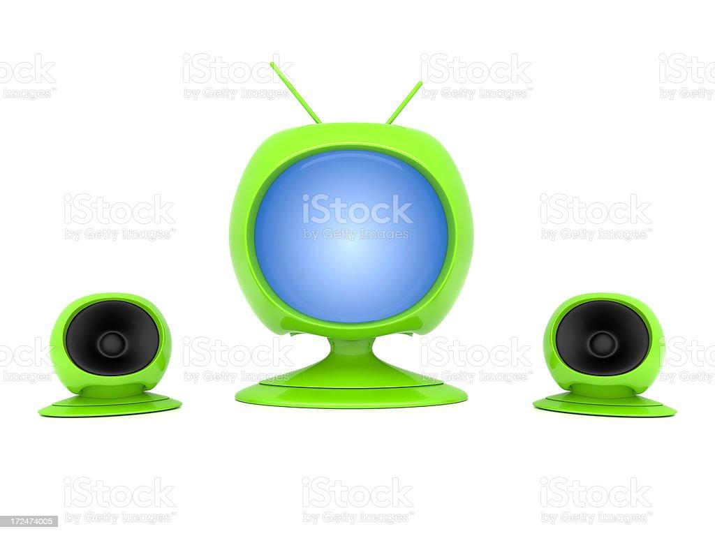 Green Futuristic TV stock photo