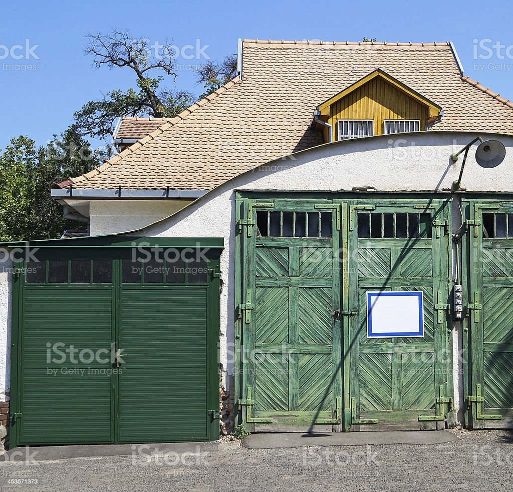green garage doors royalty-free stock photo