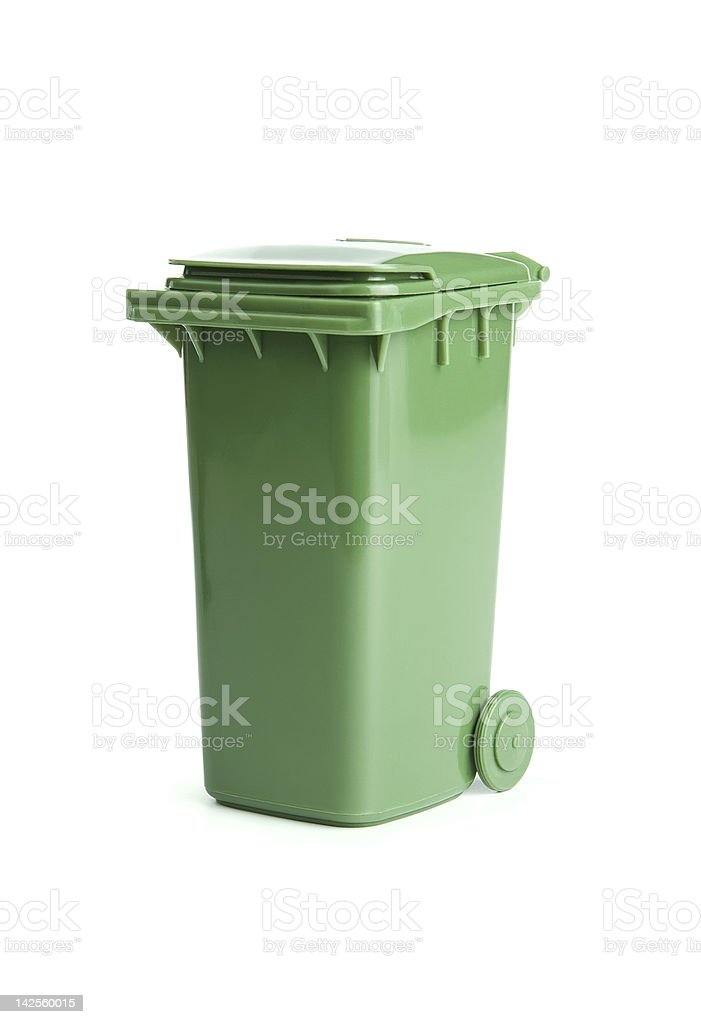 Green garbage bin stock photo