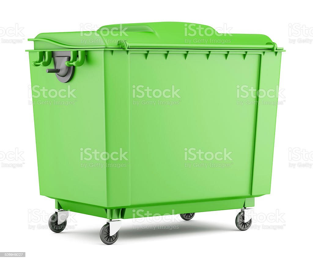 green garbage container isolated on white background stock photo
