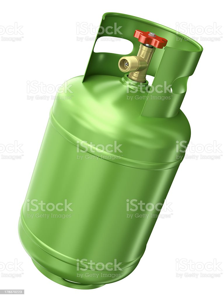 Green gas container on a white background royalty-free stock photo