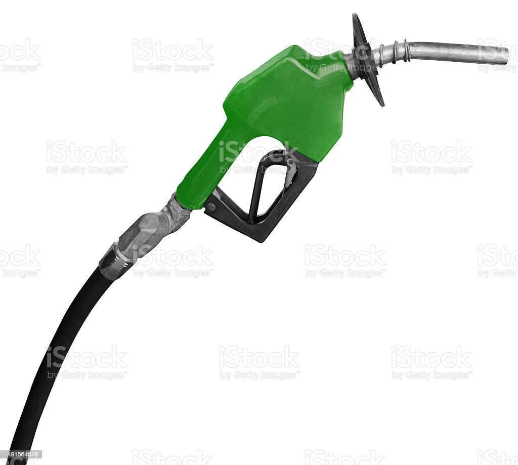 Green gas nozzle stock photo