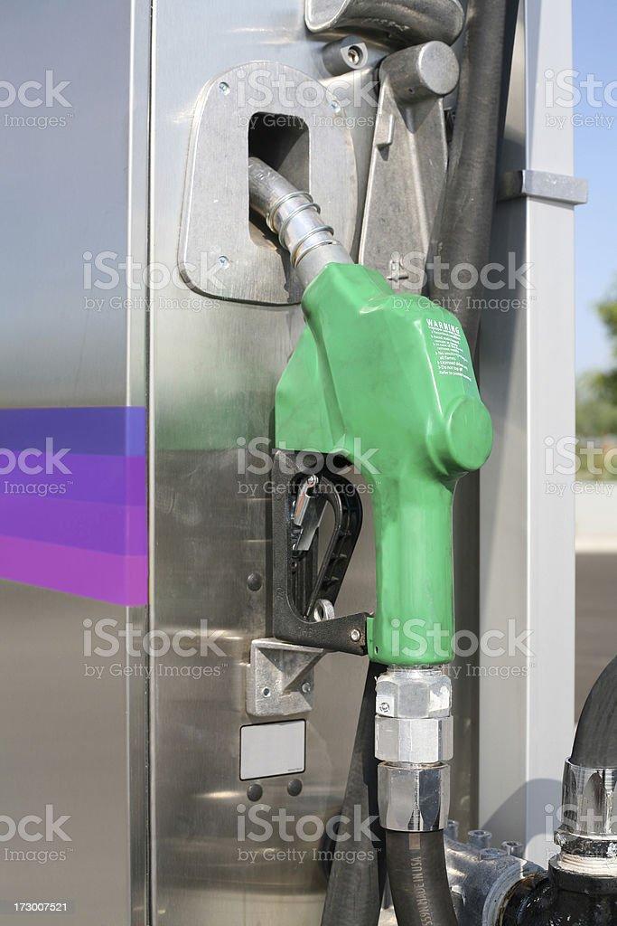 Green Gas pump handle close-up stock photo