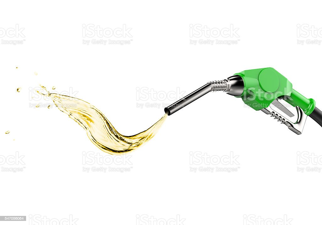 green gas pump nozzle with oil drop stock photo