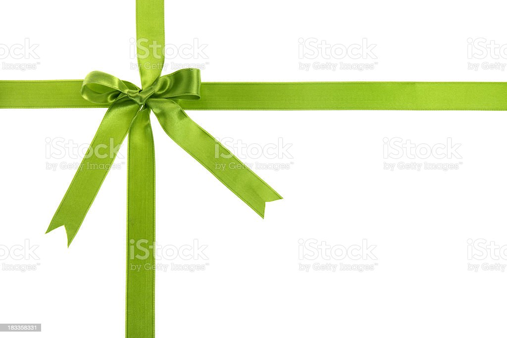 Green gift bow stock photo