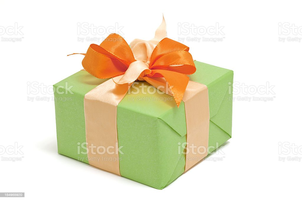green gift box with orange bow ( clipping path ) royalty-free stock photo