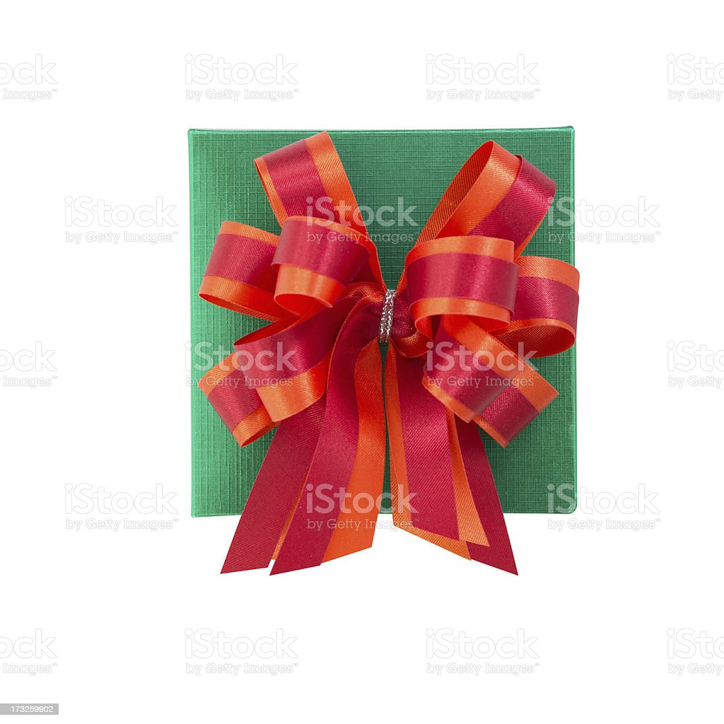 Green gift box with satin bow. royalty-free stock photo