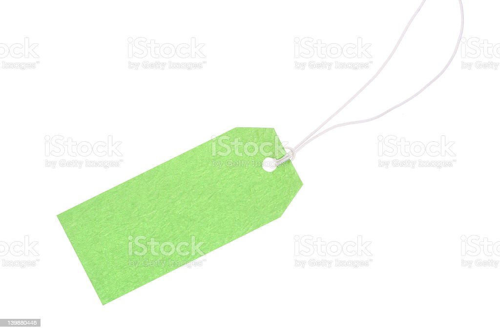 green gift tag with cotton thread royalty-free stock photo