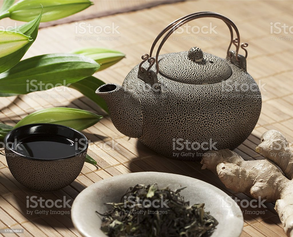 green ginger tea for wellbeing stock photo