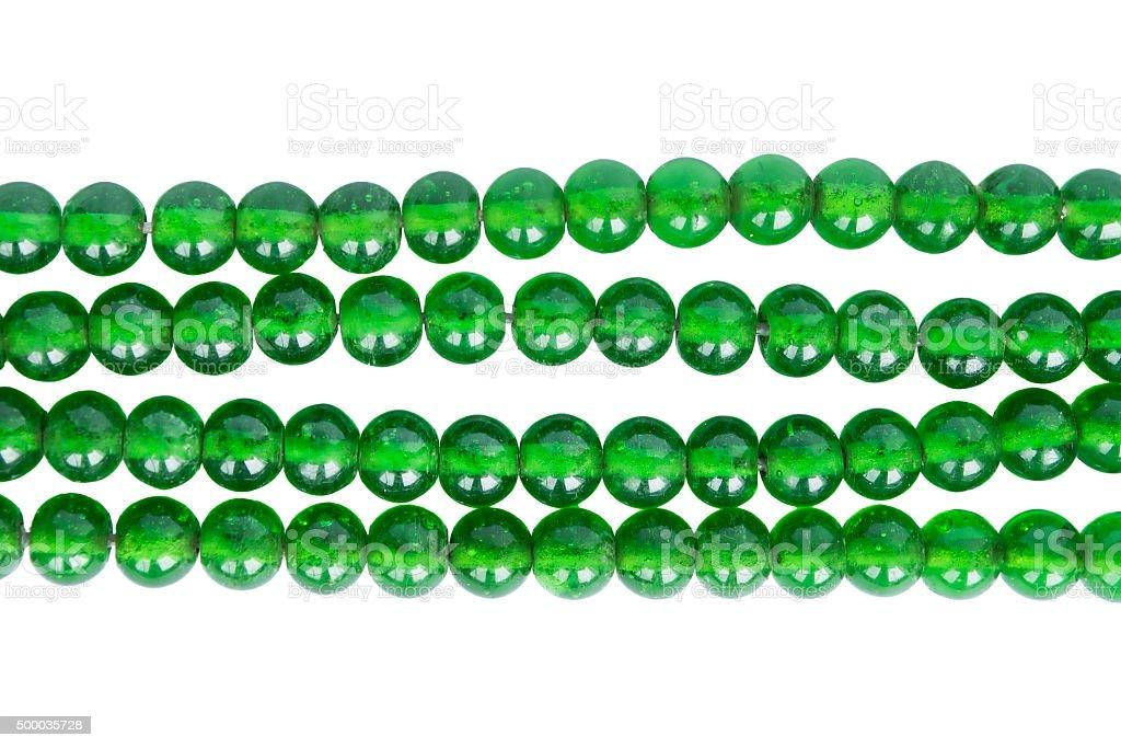 Green glass bead stock photo