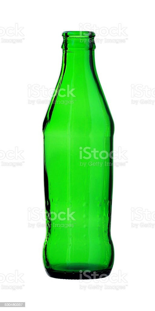 Green Glass Bottle isolated on white background stock photo