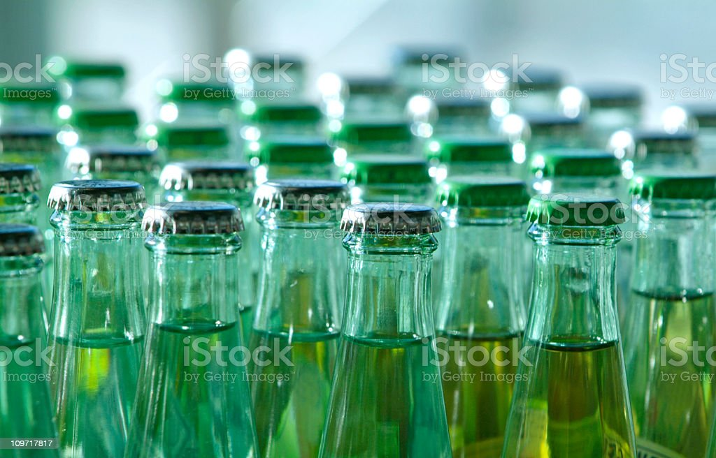green glass bottles stock photo