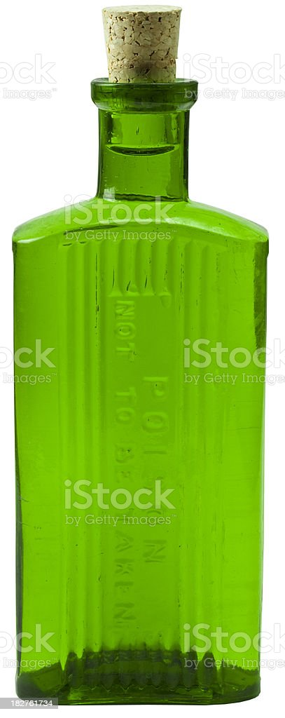 Green Glass Poison Bottle royalty-free stock photo