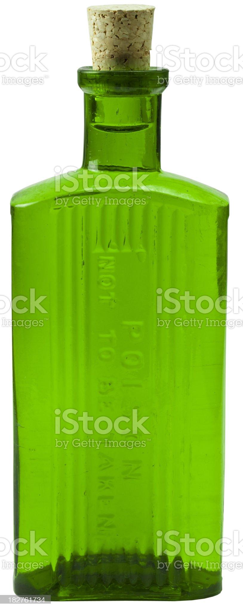 Green Glass Poison Bottle royalty-free stock photo