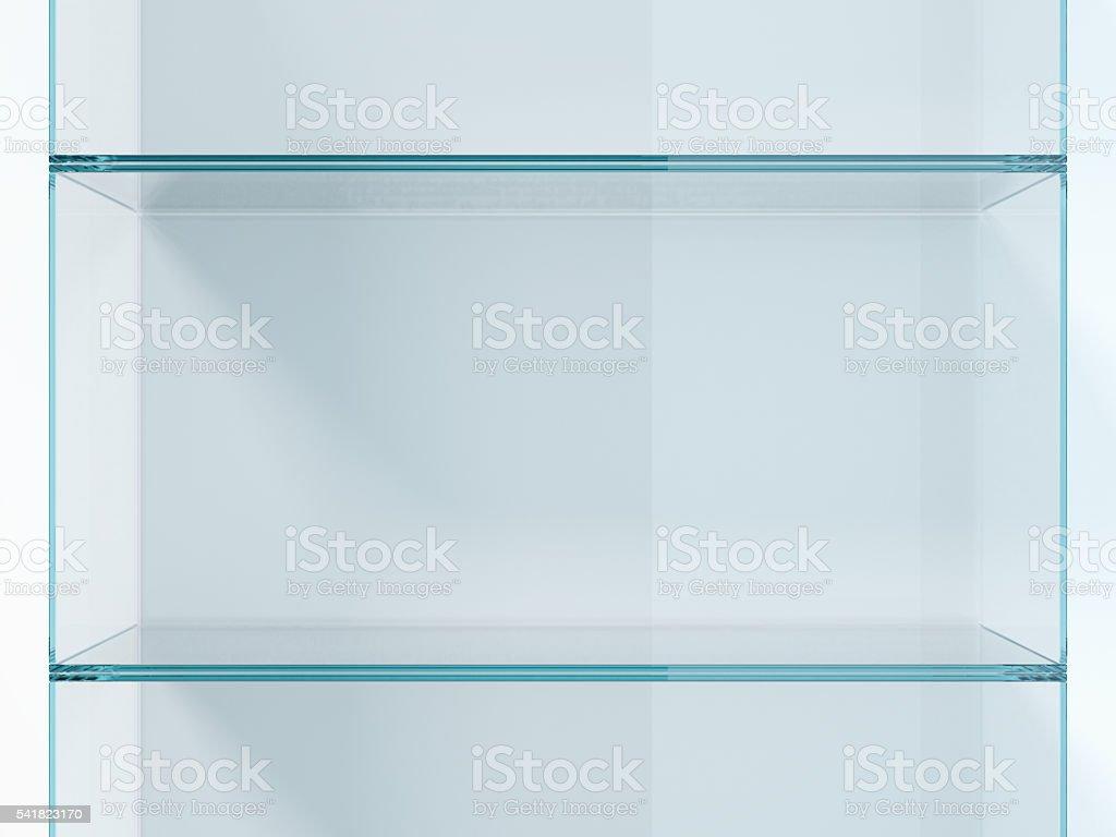 Green glass shelves in white studio. 3d rendering