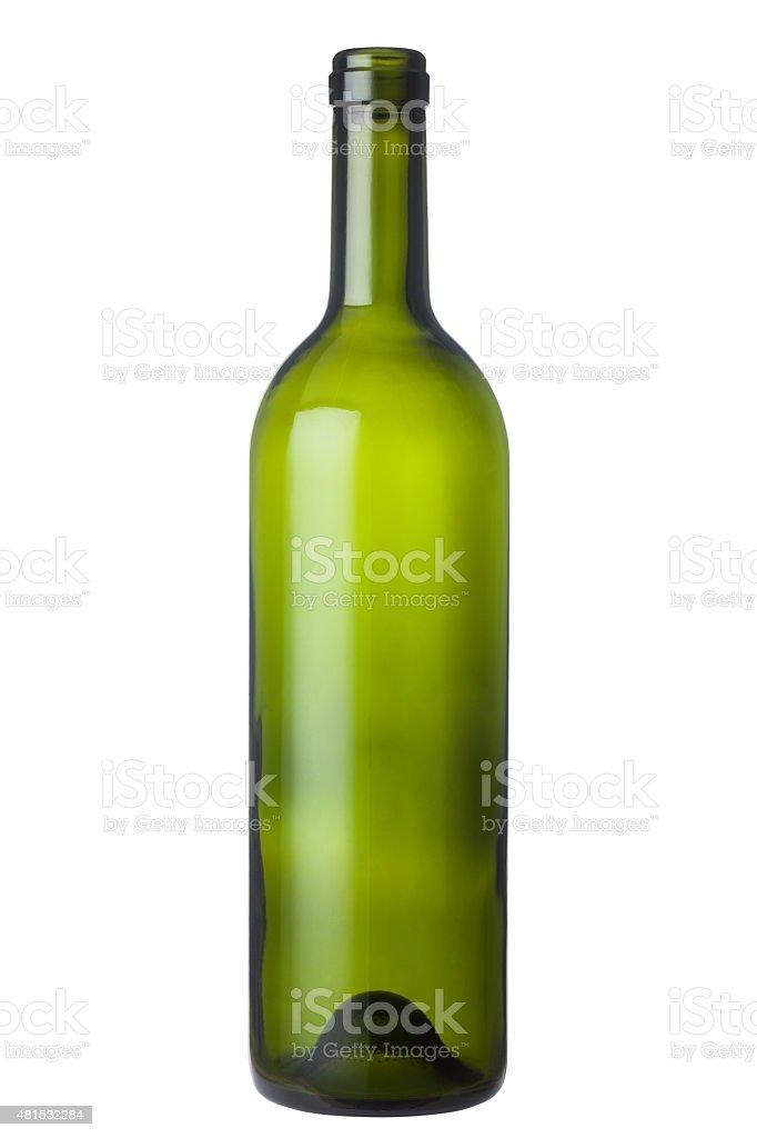 Green glass wine bottle stock photo