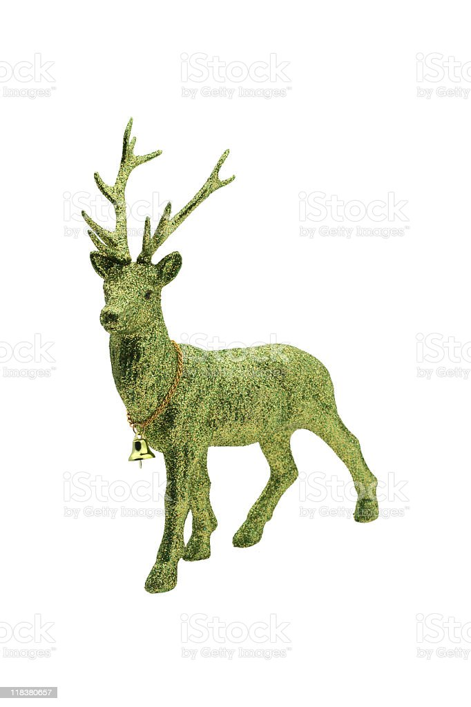Green glitter christmas reindeer stock photo