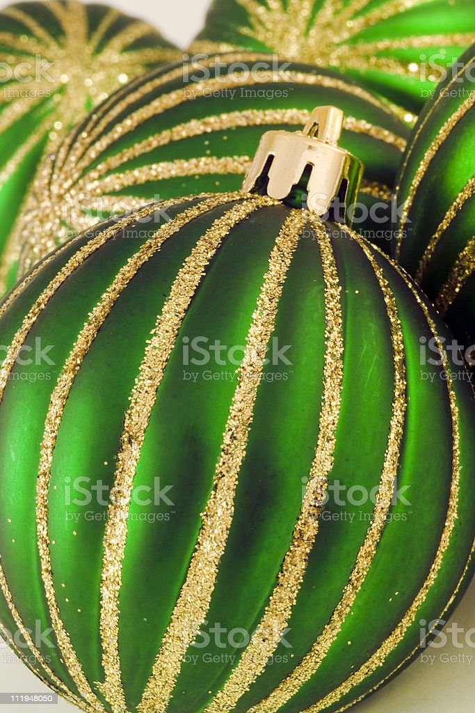 Green glittery christmas baubles royalty-free stock photo