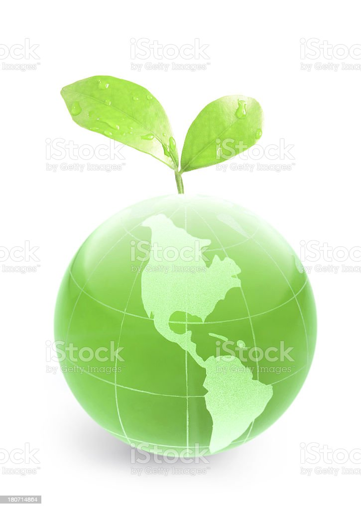green globe with leaves royalty-free stock photo