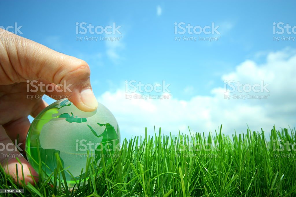 A green globe world eco concept stock photo