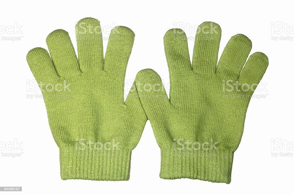 Green gloves royalty-free stock photo