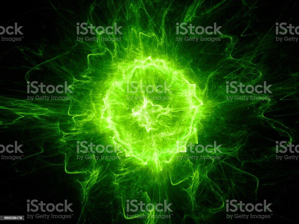 Green glowing fireball lightning stock photo