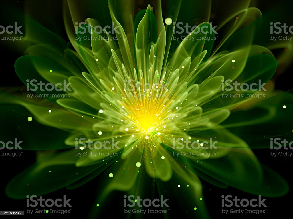 Green glowing fractal flower stock photo