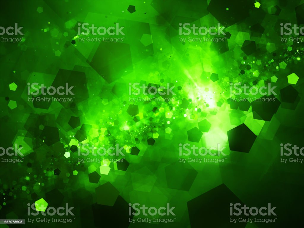 Green glowing nebula in space with pentagon particles stock photo