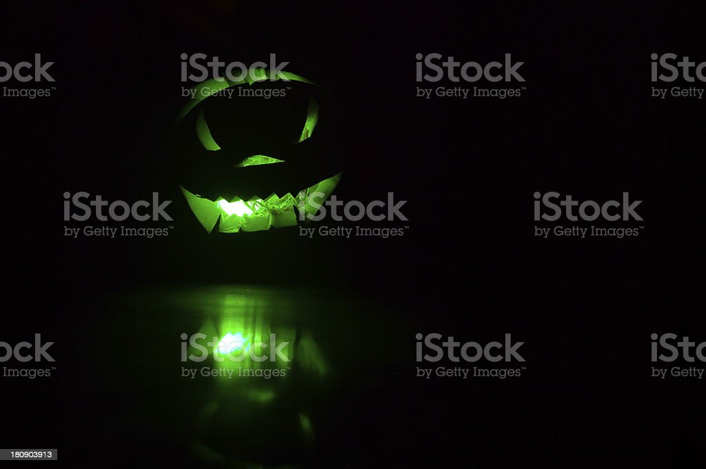 Green Glowing Pumpkin royalty-free stock photo
