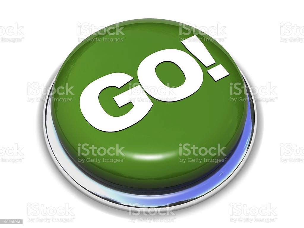 Green go button isolated on white background royalty-free stock photo