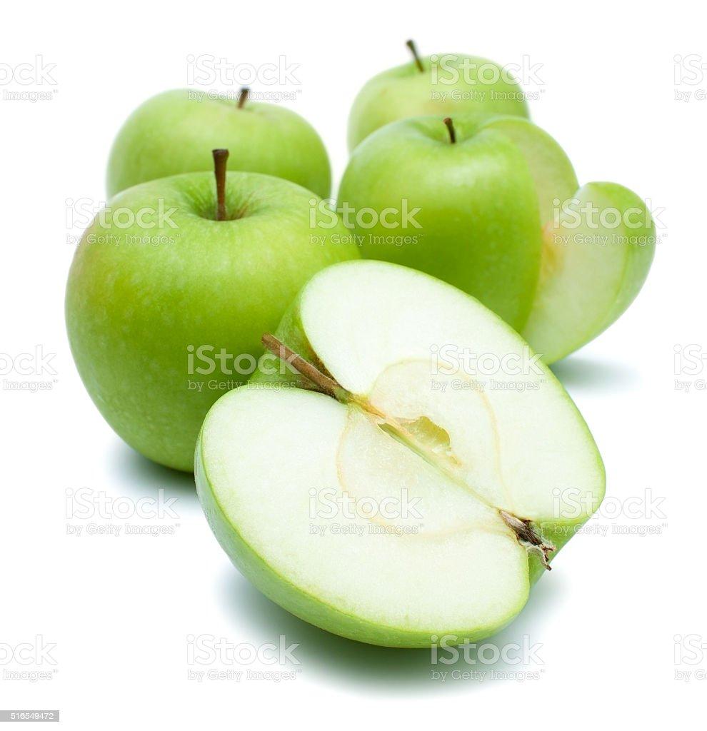 Green golden delicious apples over white stock photo