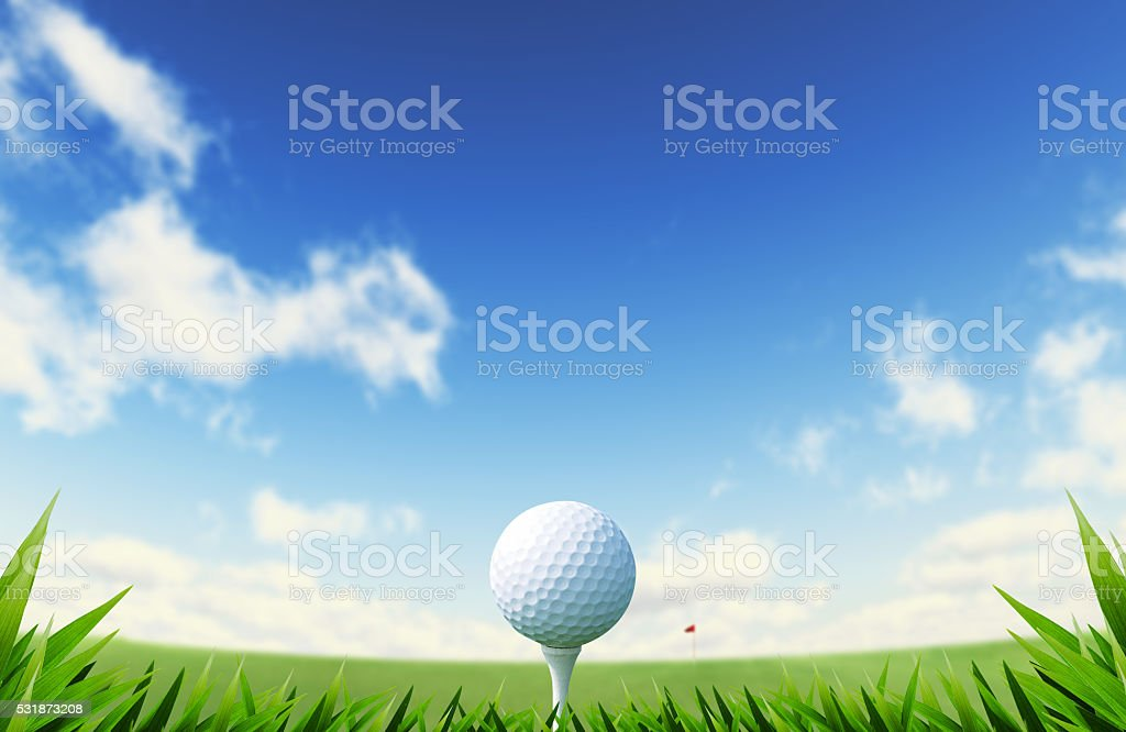 Green Golf court with close up of grass and ball stock photo
