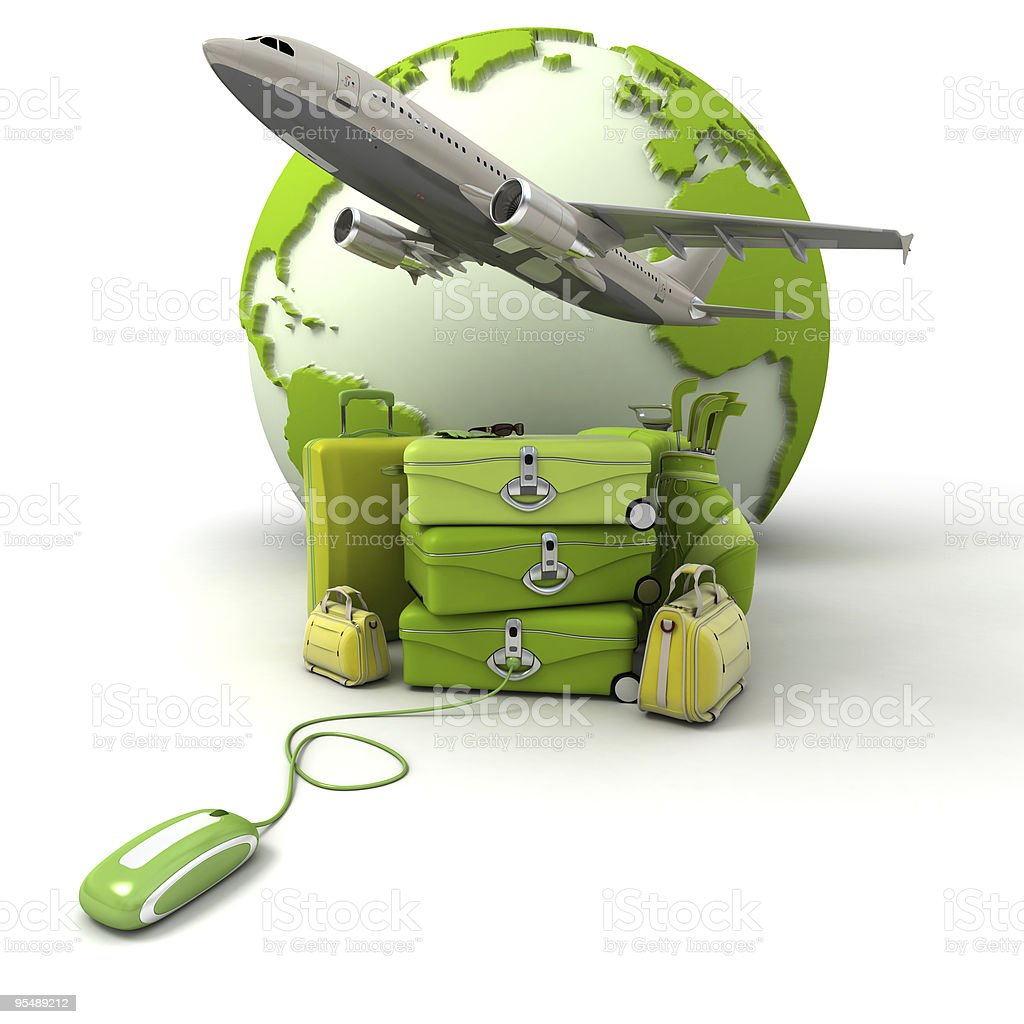 Green golf trip flight booking royalty-free stock photo