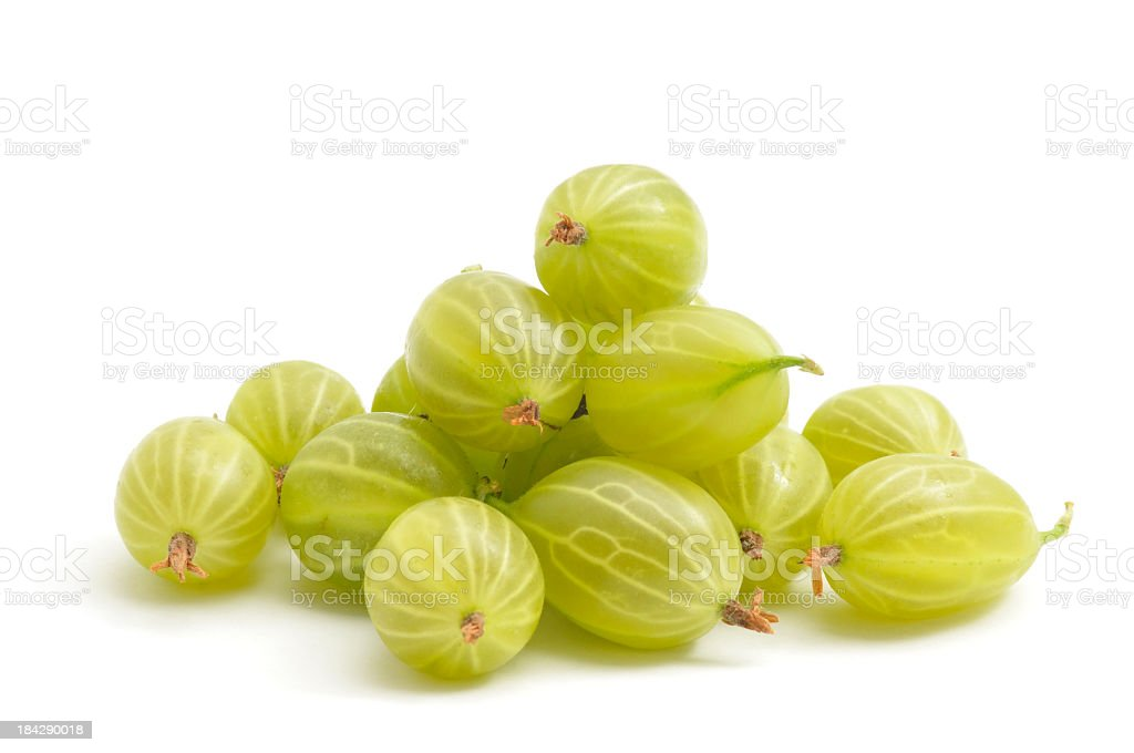 Green gooseberries on a white background stock photo