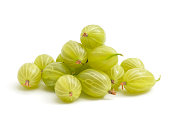 Green gooseberries on a white background